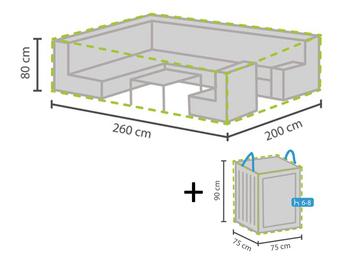 Schutzhülle Abdeckung 260x200cm für Garten Lounge Set + Hülle für 6-8 Kissen