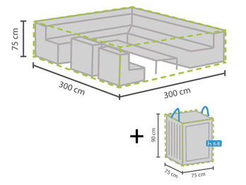 Schutzhülle Abdeckung 300x300cm für Garten Lounge Set + Hülle für 6-8 Kissen
