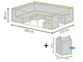 Schutzhülle Abdeckung 320x275cm für Garten Lounge Set + Hülle für 6-8 Kissen