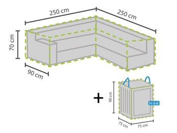 Schutzhülle 250x250cm für L-förmiges Garten Lounge Set + Hülle für 6-8 Kissen