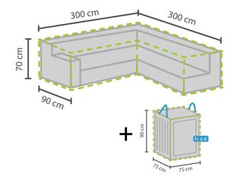 Schutzhülle 300x300cm für L-förmiges Garten Lounge Set + Hülle für 6-8 Kissen