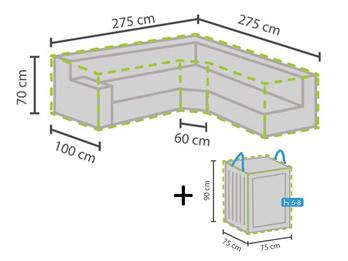 Schutzhülle trapezförmig 275x275cm für Garten Lounge Set + Hülle für 6-8 Kissen