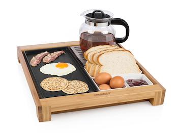 Serviertablett aus Bambus mit Warmhaltefunktion - Frühstücksstation
