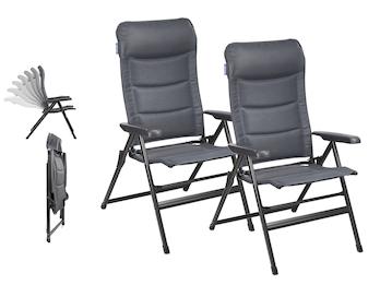 2er Set Liegestühle Campingstühle Grau, Hochlehner verstellbar & klappbar