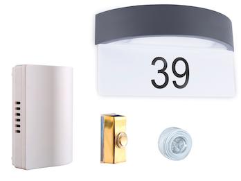 2-Draht Türklingelset und Hausnummer LED Wandleuchte mit Dämmerungssensor