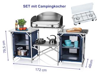 XXL Campingküche faltbar - Outdoor Küche zum Kochen - SET mit Gaskocher