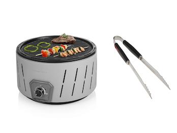 Holzkohlegrill rund, inkl. Grillzange Edelstahl batteriebetriebener Lüfter