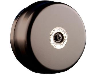Drahtgebundene Türklingel schwarz, rund mit klassischem Klingelton