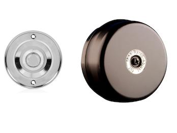 Elektrische Türklingel schwarz, rund mit Klingelknopf Chrom, 2 Draht Klingel