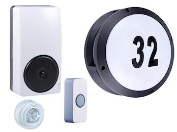 2-Draht Türklingelset und Hausnummer LED Wandleuchte rund Ø 26cm