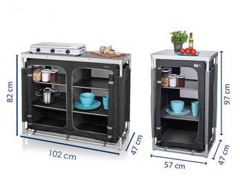 Campingschrank 2er SET: Outdoor Küchenschränke faltbar mit Arbeitsplatte