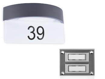 Set: 2Parteien Klingelplatte + LED Hausnummernleuchte mit Dämmerungssensor