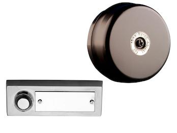 Türklingelset: Klingeltaster Stahl gebürstet mit Namensschild und Türgong rund