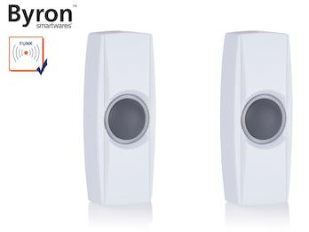 2Stk. nachtleuchtende Funk Klingelknöpfe weiß für Türklingeln Byron BY-Serie