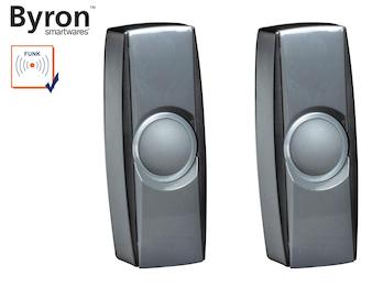2Stk. nachtleuchtende Funk Klingelknöpfe schwarz für Türklingeln Byron BY-Serie