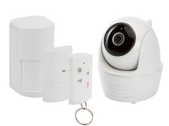 Drahtloses Alarmsystem mit dreh-und schwenkbarer IP-Kamera für den Innenbereich