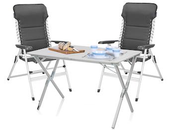 2 Personen Camping SET: Klapptisch 110x70cm mit Alu Rollplatte & 2 Stühlen