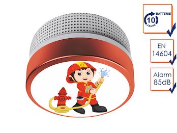 Mini Rauchmelder mit 10 Jahres Batterie und Feuerwehrmann Motiv, EN14604