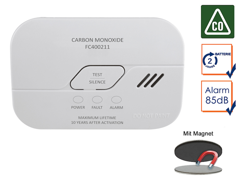 Kohlenmonoxid-Melder mit Batterie, CO-Melder, 10-Jahres Sensor & Magnetmontage