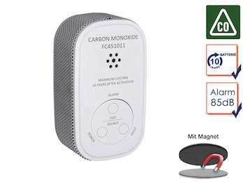 Kohlenmonoxid-Melder mit 10 Jahres Batterie & Sensor, CO-Melder + Magnetmontage