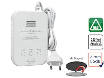 Gasmelder für Methan 85dB, Testtaste & Magnetmontage