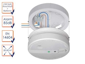 Vernetzbare Rauchmelder mit Magnethalter, 230V-Anschluß + Reservebatterie