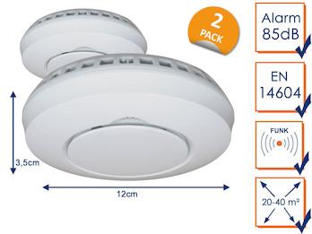 Funkrauchmelder 2er Set, Brandschutz für Smart Home Connects System