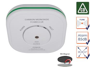 Funk Kohlenmonoxid-Melder + Magnethalter, CO-Melder vernetzbar, Connects System