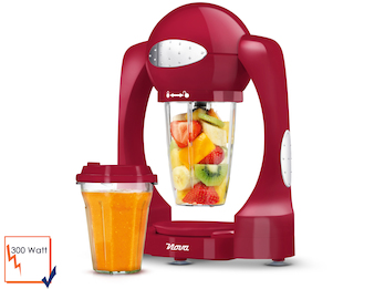 Smoothie Maker inklusive 2 x 0,6 L Mixbehälter, Farbe Rot, mit Turbofunktion