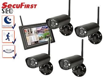 Komplett Sicherheitssystem mit 7-Zoll-Touchscreen und 4 Nachtsicht Kameras