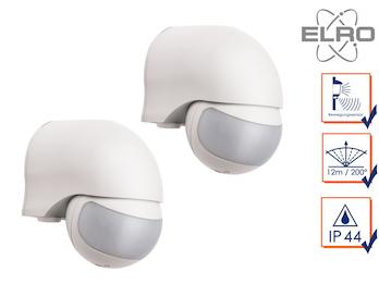 2er Set Aufputz Bewegungsmelder weiß 12m/200°, Lux und Zeitintervall einstellbar
