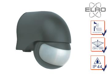 Aufputz Bewegungsmelder schwarz 12m/200°, Lux und Zeitintervall einstellbar
