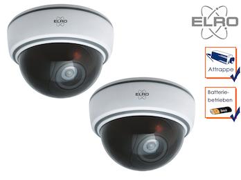 2er Set Dome-Kamera-Attrappe weiß mit Blink LED, mit Batterie & Montagematerial