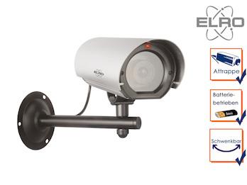 Kamera-Attrappe mit Blink LED, Aluminium, für Innen & Außen, inkl. Batterie