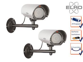 2er Set Kamera-Attrappe mit Blink LED, Aluminium, Innen & Außen, inkl. Batterie