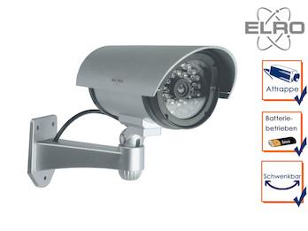 Kamera-Attrappe mit IR-LEDs, Aluminium silber, für Innen & Außen, inkl. Batterie