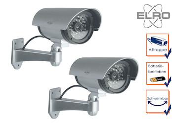 2er Set Kamera-Attrappe IR-LEDs, Aluminium silber, Innen & Außen mit Batterie