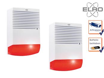 2er Set Sirenen Attrappe mit blinkender LED Batteriebetrieb - Alarmsysteme Dummy