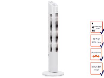 Turmventilator Säulenventilator mit Timer oszillierend 3 Stufen, 73cm hoch, Weiß