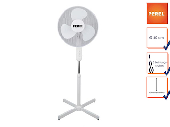 Standventilator Standlüfter Ventilator Ø 40cm, 3 Stufen oszillierend 50W