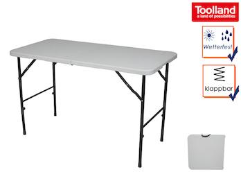 Klapptisch weiß 120x60 cm für innen und außen, Tisch für Camping & Garten