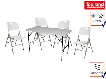 Gartenmöbel Set weiß, klappbarer Tisch + 4 Stühle, ideal für Camping & Garten