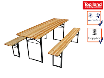 Bierzeltgarnitur aus Holz: Tisch mit 2 Bänken, Länge 2 Meter, zusammenklappbar