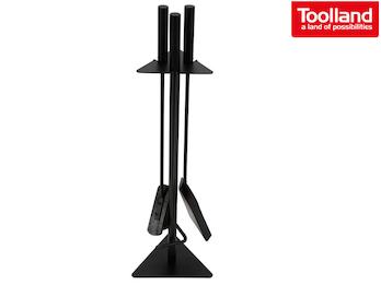 Praktisches Kaminbesteck schwarz, Set aus Schaufel, Besen & Schürhaken