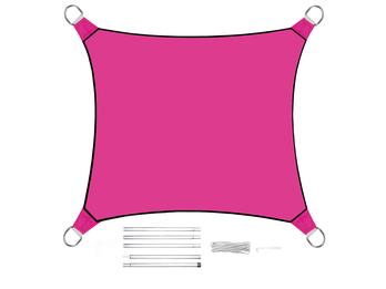 Sonnensegel Quadratisch Pink 3,6m mit Stangenset für den Garten