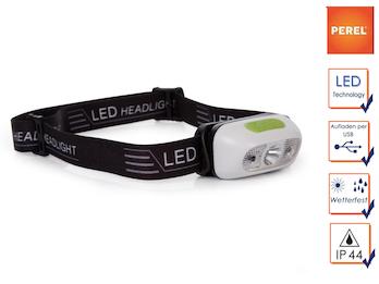 Wiederaufladbare Stirnlampe Kopflampe mit weißen CREE LEDs, SOS Funktion