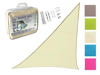 Sonnensegel Dreieck Creme 5m - mit Ösenset für Balkon / Terrasse