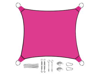 Sonnensegel Quadratisch Pink 3,6m - mit Ösenset für Balkon & Terrasse