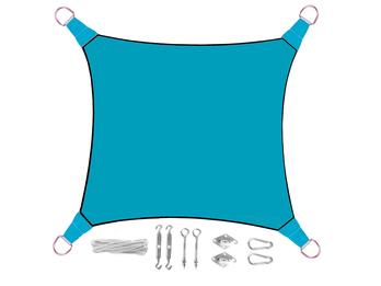 Sonnensegel Quadratisch Blau 5m mit Ösenset für Balkon / Terrasse