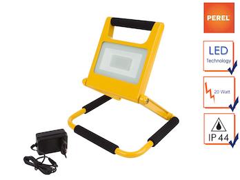LED Baustrahler klappbar mit Akku, Fluter Arbeitsscheinwerfer 20W neutralweiß
